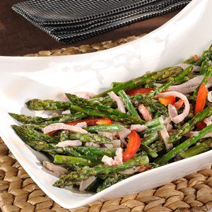 Asparagus Stir-Fried with Smoked Turkey and Mustard